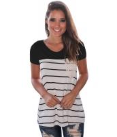ブラック スプライス ストライプ 半袖 Tシャツ lc250211-2