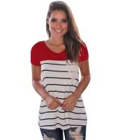 レッド スプライス ストライプ 半袖 Tシャツ lc250211-3