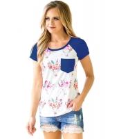 ネイビー ブルー 半袖 ポケット 花柄 シャツ lc250271-5