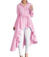 ピンク ストライプ ラペル シャツ ハイロー ベルト付き ブラウス トップス cc250364-10
