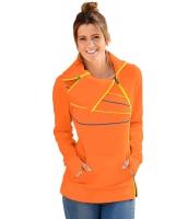 ジップ & パイピング  オレンジ スウェットシャツ cc250376-14