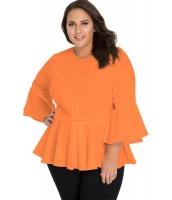 オレンジ クロッシェ入り ワイド袖 大きいサイズ トップス cc250415-14