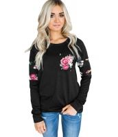 花柄 パチワーク  ブラック スウェットシャツ cc250427-2