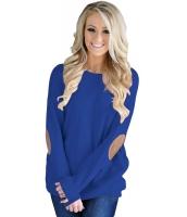 ブルー エルボー パチワーク スウェットシャツ cc250512-5
