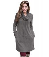 グレー カウルネック スウェットシャツ ドレス cc250574-11
