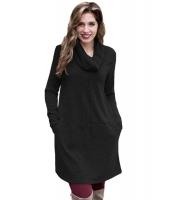ブラック カウルネック スウェットシャツ ドレス cc250574-2
