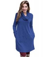 ブルー カウルネック スウェットシャツ ドレス cc250574-5