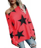 レッド 長袖 輝く星 Tシャツ cc250582-3