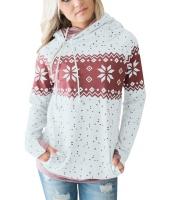 ホワイト ダブル フード 雪景色 スウェットシャツ cc250591-1