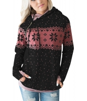 ブラック ダブル フード 雪景色 スウェットシャツ cc250591-2
