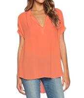 オレンジ Vネック 半袖 大きいサイズ シフォン ブラウス cc25789-14