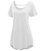 グレー 快適 半袖 ベーシック ロング Tシャツ cc25797-1