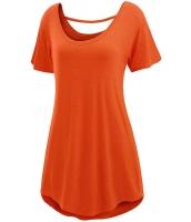 オレンジ 快適 半袖 ベーシック ロング Tシャツ cc25797-14