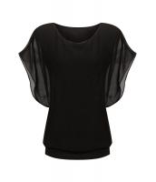 ブラック ルーズ カジュアル 半袖 シフォン トップス Tシャツ ブラウス cc25847-2
