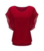 レッド ルーズ カジュアル 半袖 シフォン トップス Tシャツ ブラウス cc25847-3