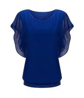 ブルー ルーズ カジュアル 半袖 シフォン トップス Tシャツ ブラウス cc25847-5
