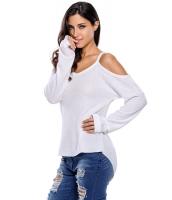 ホワイト コールドショルダー ニット 長袖 セーター cc27624-1