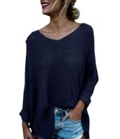 ネイビー ブルー 大きいサイズ ニット ハイロー サイドスリット セーター cc27680-5