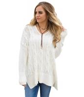 ホワイト 大きいサイズ 快適 ニット セーター cc27681-1
