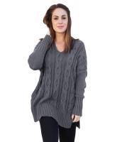 グレー 大きいサイズ 快適 ニット セーター cc27681-11