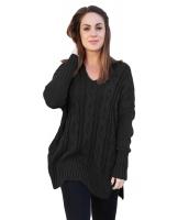 ブラック 大きいサイズ 快適 ニット セーター cc27681-2