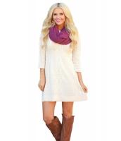 ホワイト ケーブル ニット フィット 七分丈袖 セーター ドレス cc27692-1