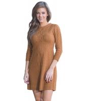 ブラウン ケーブル ニット フィット 七分丈袖 セーター ドレス cc27692-17
