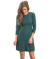 グリーン ケーブル ニット フィット 七分丈袖 セーター ドレス cc27692-9