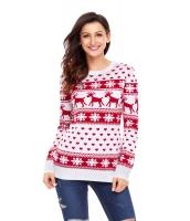 レッド トナカイ & スノーフレーク ニット クリスマス セーター cc27693-3