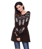 ブラウン Aライン カジュアル フィット クリスマス ファッション セーター cc27720-17