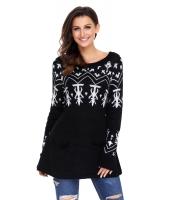 ブラック Aライン カジュアル フィット クリスマス ファッション セーター cc27720-2