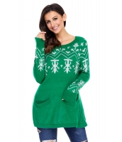 グリーン Aライン カジュアル フィット クリスマス ファッション セーター cc27720-9