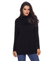 ブラック 快適な カウルネック 長袖 セーター cc27731-2