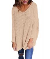 ピンク 大きいサイズ 長袖 ニット V-ネック セーター cc27741-10