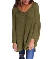 グリーン 大きいサイズ 長袖 ニット V-ネック セーター cc27741-9