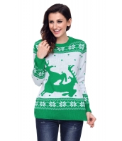 グリーン ホワイト トナカイ クリスマス ジャンパー cc27766-9