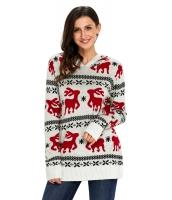 キュート クリスマス トナカイ ニット ホワイト フード付き セーター cc27785-1