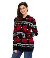 キュート クリスマス トナカイ ニット ブラック フード付き セーター cc27785-2