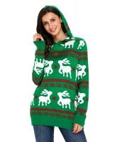 キュート クリスマス トナカイ ニット グリーン フード付き セーター cc27785-9