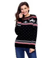 ブラック クリスマス トナカイ ニット セーター 冬 ジャンパー cc27790-2