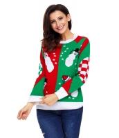ハッピー 雪だるま グリーン レッド クリスマス セーター cc27797-9