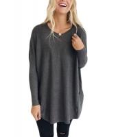 チャコール 大きいサイズ フィット ポケット セーター チュニック cc27798-11