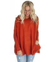 オレンジ 大きいサイズ フィット ポケット セーター チュニック cc27798-14