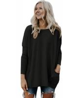ブラック 大きいサイズ フィット ポケット セーター チュニック cc27798-2