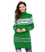 グリーン クリスマス スノーフレーク ニット タートルネック ジャンパー cc27807-9