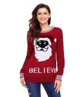 ブラック サンタ クリスマス セーター レッド cc27812-3