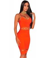 オレンジ バンテージ レースアップ 袖なし ドレス cc28462-14