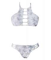 ホワイト プリント カットアウト ビンテージ ピンナップ 女性 2ピース タンキニ水着 cc41641-1