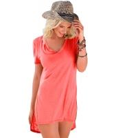 コーラル ピンク 半袖 Tシャツ カバーアップ cc42129-10