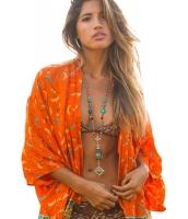 オレンジ 自由奔放 ファッション シフォン プリント 着物 cc42170-22